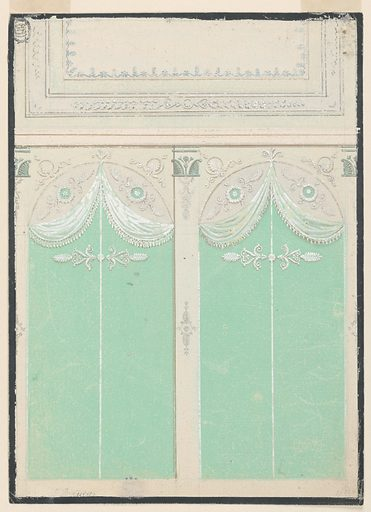 Vertical format design for the decoration of the walls and ceiling of a living room. A short wall with the ceiling over it is shown. The wall is divided by pilasters into two bays of a colonnade. The intercolumniations show arches with tympana with obliquely disposed ornamentation. Parts of the tympana and of the intercolumniations are covered by a kind of canopy of green cloth with fringed upper seams. The ceiling is to be divided into a great panel framed by bands. Framing black strip. Made in: England. Date: 1820s. Record ID: chndm_1940-21-8.