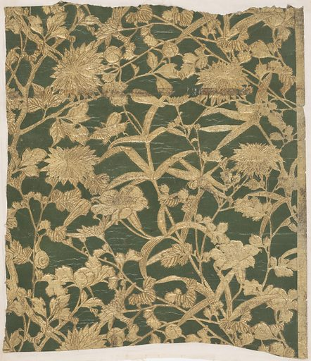 Imitation leather. Flowering vine and possibly bamboo plant, with snail, grasshopper and dragon fly. Embossed and printed in gold on deep green ground. Made in: Japan. Date: 1880s. Record ID: chndm_1941-47-2.