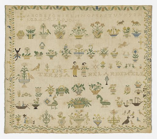 Within a floral border (of four designs) are alphabets, numerals and the maker's name (Teresa Belardi Nell), people, animals, birds, ships, and flowering plants. Made in: Italy. Date: 1800s. Record ID: chndm_1941-69-11.