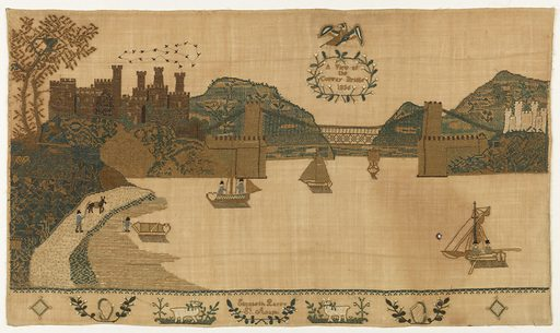 """Horizontal panel showing Bridge, five boats on river, several buildings on the shore; eagle in the sky with wreath """"A View of Conway Bridge 1836""""; on the lower border are two harps, two sheep and """"Elizabeth Parry St. Asaph."""". Made in: England. Date: 1830s. Record ID: chndm_1941-69-84."""