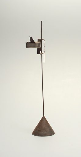 tallow, oil lamp on ajustable shaft. Date: 1770s. Record ID: chndm_1941-98-38-a_b.