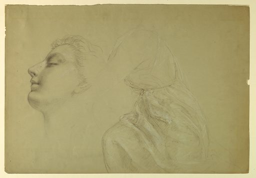 Woman's head in left profile, at left. At right, drapery study for a seated female figure, turned towards the left, with head and feet not shown.. Verso: Three studies of a left foot, one study of a right foot. Made in: USA. Date: 1880s. Record ID: chndm_1942-50-115.