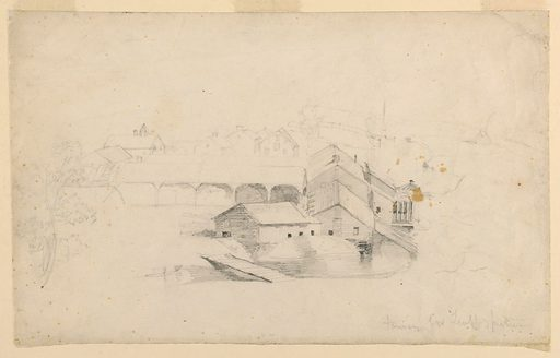 Curved stream, right and foreground, around clustered buildings. A long shed extending to the left; houses beyond. Made in: USA. Date: 1840s. Record ID: chndm_1942-50-273.