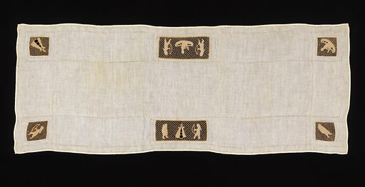 Linen table cover with hemstitching and six pieces of lace insertion showing Indian motifs: two rectangular pieces show two braves with bows framing tepees and four squares in the corners show a man in a canoe, a woman with a papoose, a brave with a bow, and a tepee. Made in: USA. Date: 1900s. Record ID: chndm_1943-44-6.