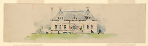 Front elevation of a house with a gray roof. Made in: USA. Date: 1900s. Record ID: chndm_1943-51-407.