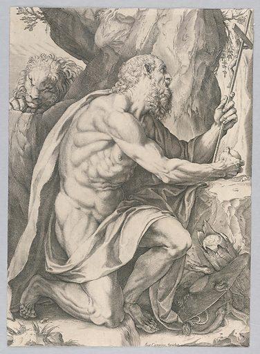 Saint Jerome. Print makers: Agostino Carracci, Italian, 1557 – 1602; Francesco Brizio, 1574 – 1623. Made in: Europe. Date: 1600s. Record ID: chndm_1946-55-293.