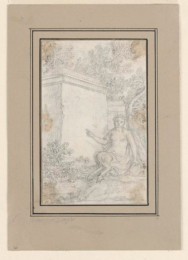 A faun, a mythological half-human, half-goat creature, is seated by a stone-block monument. The faun, who appears to be female, points to the monument with her right hand and holds a tambourine in her left. The faun and the monument are surrounded by trees. Made in: northern Italy. Date: 1830s. Record ID: chndm_1948-118-72.