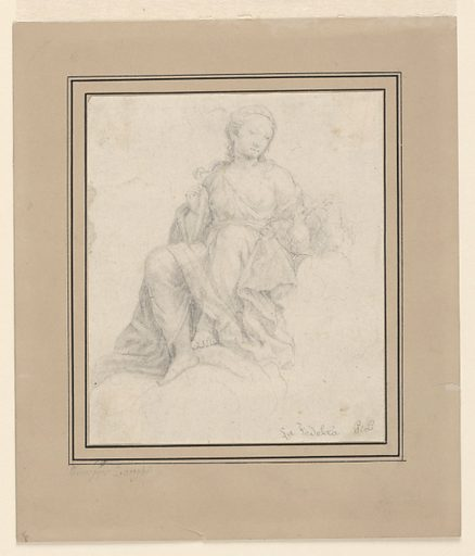The allegorical figure of Fidelity is seated on a cloud, looking at kissing doves on her left. Made in: northern Italy. Date: 1830s. Record ID: chndm_1948-118-76.