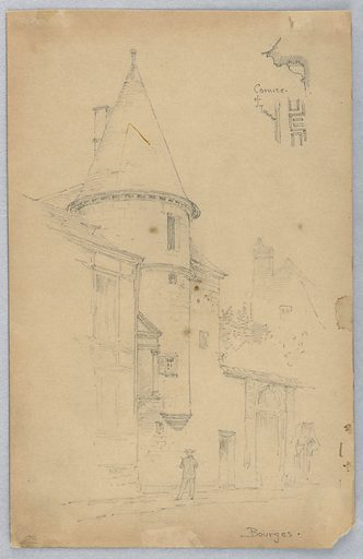 Tower, with detail of cornice, upper right, figure standing in front. Made in: USA. Date: 1880s. Record ID: chndm_1948-47-164.