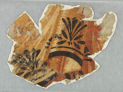 Irregular fragment of empire border with drapery swags in cream, brown, and rust with black sprigs and bands superimposed. Printed in black, rust, light brown and off-white. Made in: USA. Date: 1800s. Record ID: chndm_1948-61-2.
