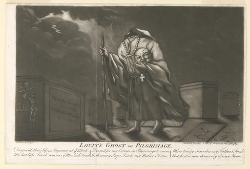 Scene of a cemetery at night. The headless figure of the ghost of Simon Fraser, 11th Lord Lovat, walks in foreground towards the left wearing a monk's robes. He holds his head in his left hand and a walking stick in his right. Beneath the image is the title: Lovat's Ghost on Pilgrimage, followed by a satirical poem: Disguis'd thro' Life, a Layman at ye block, Doom'd for Crimes in Pilgrimage to Roam, Where Vanity Inscribes my Father's Tomb, My headless Trunk resumes ye Monkish Frock, With Weary Steps, I Seek my Native Home, But Justice Now Denies my Carcase Home. Designer: William Hogarth, English, 1697 – 1764. Made in: London, England. Date: 1790s. Record ID: chndm_1949-152-100.