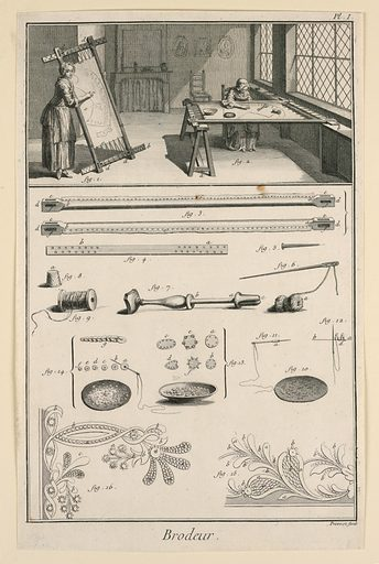 Drawing divided into two registers. In top register, a scene of two women weaving fabric in a room. On the left, a woman weaves at a loom and looks out at the viewer. The woman on the right sits at a table looking at fabric patterns. In the bottom register, depictions of tools and embroidery patterns labeled with figure numbers. Made in: France. Date: 1760s. Record ID: chndm_1949-152-188.