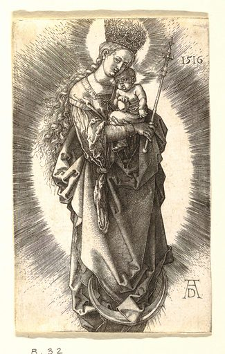 The Virgin and Child are represented standing on a crescent moon. She faces the spectator, her figure turned slightly to the right. She holds the Child on her left arm, and a scepter in her right hand; on her head a crown with stars. Made in: Germany. Date: 1500s. Record ID: chndm_1950-131-143.