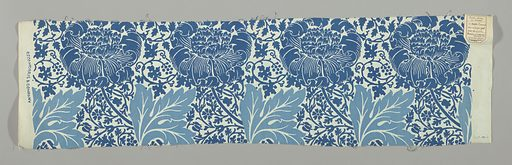 Large flower heads leaning left, and large leaves, on a ground of small-scale, all-over design of flowering vines. In two shades of blue on a white ground. Made in: England. Date: 1880s. Record ID: chndm_1951-103-41.