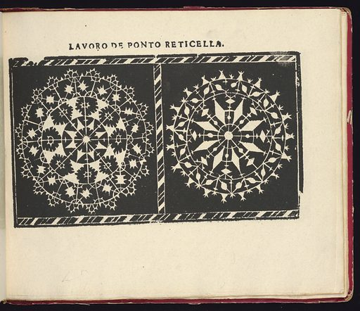 """Facsimile by Bernard Quaritch of """"Studio delle virtuose dame"""" by Isabella Catanea Parasole; first published in Rome by Antonio Faechetti in 1597. Made in: London, England. Date: 1880s. Record ID: chndm_1951-38-2."""