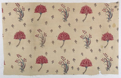 Fragment of cream-colored cotton, painted in design of detached flower sprays, alternating with flower head in profile; background sewn with very small design of flower head with stamens. Colors red, blue, violet, black for outlines. Glazed. No selvages. Date: 1700s. Record ID: chndm_1953-126-5.