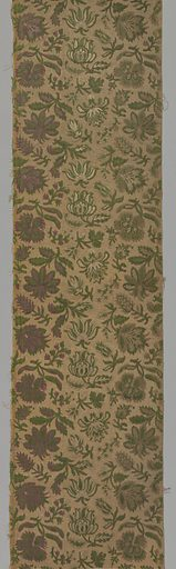 Medium sized, close-set repeat of flower sprays in cut and uncut velvet in shades of green, white, tan, mauve and pink with metallic gold threads in the ground. Made in: Italy or France. Date: 1700s. Record ID: chndm_1954-167-24-a_c.