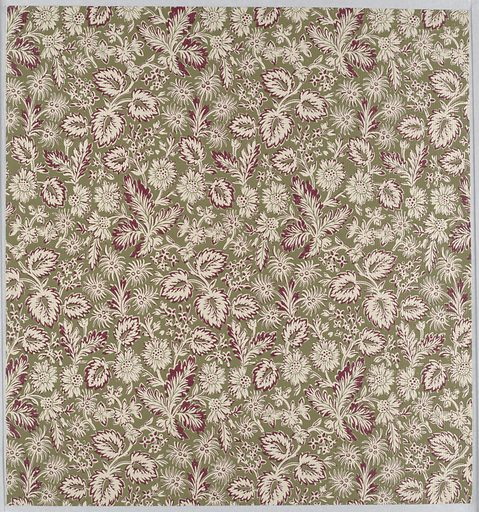 Aesthetic style design with dense all-over pattern of foliage with several varieties of flowers; single-motif repeat glide-reflected vertically and printed in columns; foliage marked out in dark red and green, with flowers predominantly green and leaves predominantly red; dark green ground on vertically ribbed paper. Made in: USA. Date: 1880s. Record ID: chndm_1970-26-4-ao.