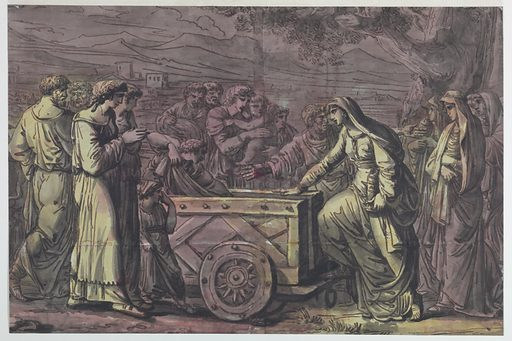 Five Vestal Virgins, holding urns, are being ushered into a two-wheeled cart. A group of lamenting figures, including children, surround them. Made in: Italy. Date: 1800s. Record ID: chndm_1948-118-30.