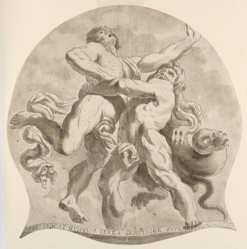 Hercules, wearing a lion's skin, lifts the giant, Antaeus, over his head. The figures are seen foreshortened from below. An inscriptional ribbon below the two figures reads: SIC PEREAT QVISQVIS TERRA GENITRICE SVPERBIT. The drawing is in the shape of a circle, with two triangular-shaped corners protruding from the lower left and lower right. Made in: Italy. Date: 1800s. Record ID: chndm_1948-118-40.