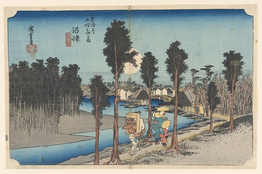 Center, full moon rising in the center over village towards which three pilgrims pass along road bordering river. One with grotesque mask distinctive of pilgrims to the Shinto Shrine of Kompira in Province of Sanuki. Left, thick pine woods. Made in: Japan. Date: 1820s. Record ID: chndm_1948-134-13.