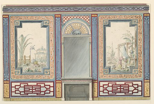 Elevation of a wall, with a mantelpiece in the center, surmounted by a tall mirror. Over the mirror a painted fan-shaped design. At the sides of the mantelpiece, the walls have large painted panels of Chinese figures in landscape settings, enclosed in wide decorative frames. Made in: England. Date: 1810s. Record ID: chndm_1948-40-27.