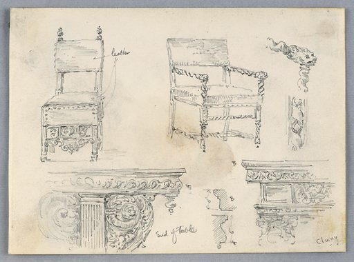 Sketches if two chairs and details; details of two tables. All intricate, arm chair rest and table have faces of lions. Made in: USA. Date: 1880s. Record ID: chndm_1948-47-114.