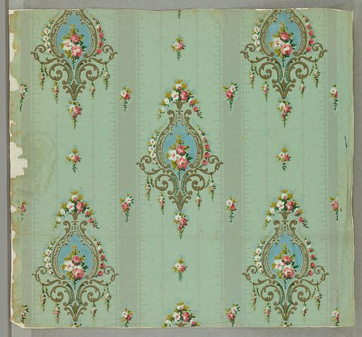 Between silvered vertical bands are drop repeating cartouches containing small clusters of flowers enframed with gold scrollwork and smaller clusters of flowers. Date: 1880s. Record ID: chndm_1949-97-9.