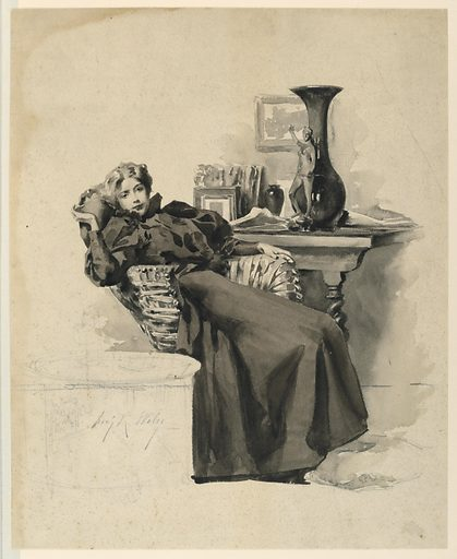 A woman, dressed in clothing from the 1890s, reclines in a wicker chair, a table with still life behind her. Another table with a tea pot and cup is lightly sketched in graphite, lower left. Made in: USA. Date: 1880s. Record ID: chndm_1950-88-1.