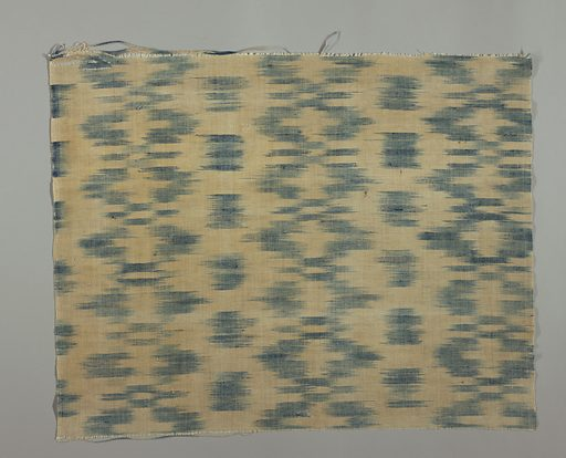 Length of cotton and linen cloth with horizontal blazes of shaded blue from ikat warp. Cloth selvedge terminating in cord. Made in: Spain. Date: 1700s. Record ID: chndm_1951-6-2.