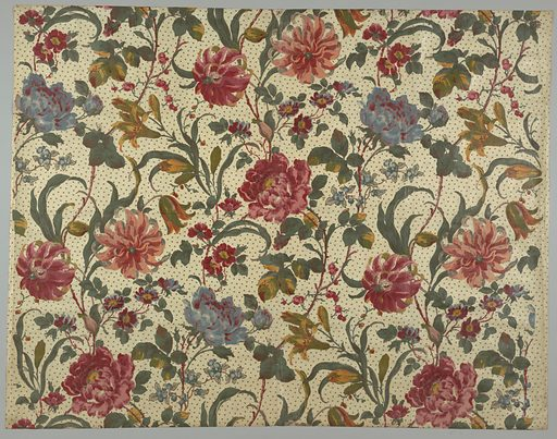 Glazed chintz with a white ground and large, bold multicolored floral design showing tiger lilies and other flowers. Block printed using twelve colors. Background is printed in a small design of clover leaves. Made in: England. Date: 1880s. Record ID: chndm_1952-105-25.