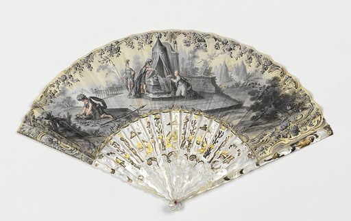 Gilded and gouache-painted skin leaf. Obverse in grisaille: female and warrior figured laying flowers upon a tomb. Reverse in grisaille: Italian landscape. Sticks and guards, pierced mother-of-pearl with metal foil, showing putti with birds. Made in: possibly Italy. Date: 1770s. Record ID: chndm_1952-161-196-a_b.