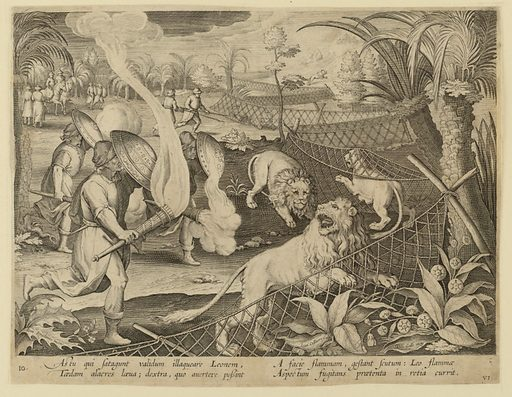 """Horizontal rectangle. The lions, frightened by the lighted torches carried by the hunters, are forced into the string of nets set up to trap them, right. At lower left: """"Ioan. Stradanus invent."""" Right of center, below: """"Ioan. Collaert Sculp.""""; at lower right: """"Phls Galle excud."""" Below: """"AS TU QUI SATAGUNT VALIDUM ILLAGUEARE LEONEM…"""". Made in: Netherlands. Date: 1600s. Record ID: chndm_1952-37-7."""