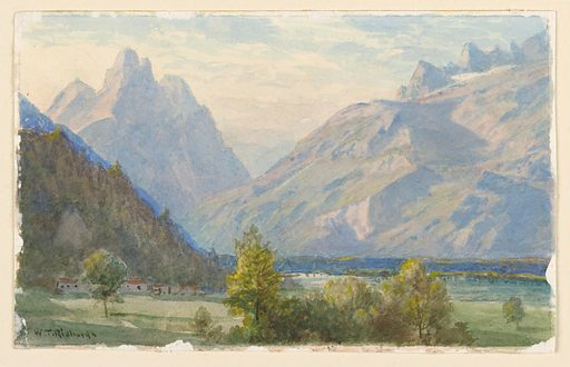 Sketch of lowlands with a group of houses in shadow. Mountain range shown in the background. Made in: Norway. Date: 1900s. Record ID: chndm_1953-179-81.