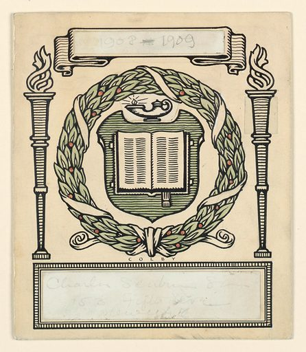 Open book on shield, lamp above, enclosed in holly wreath. Torches, left and right. Surmounted by ribbon with open field, intended for date (1908-1909, in graphite, on paper, mounted over area). Oblong field below, intended for name and address of firm (inscribed in graphite, on paper, mounted over area). Made in: USA. Date: 1900s. Record ID: chndm_1953-48-62.