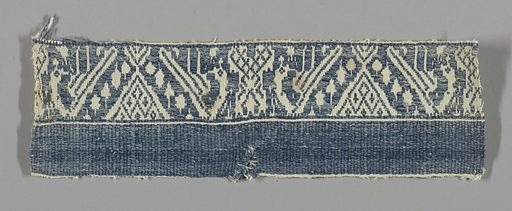 Supplementary blue weft floating alternately face to face forming a design of affronted birds with long necks craning almost to the ground. Made in: Italy. Date: 1700s. Record ID: chndm_1896-1-99.
