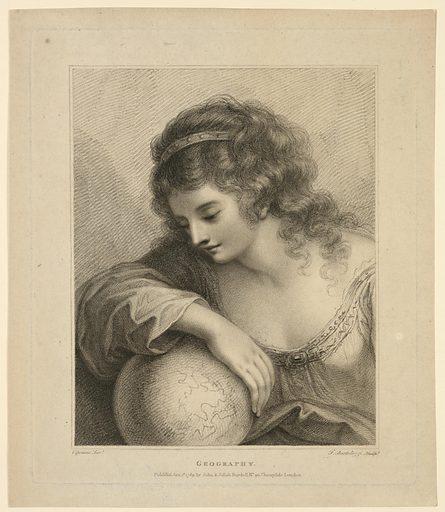 Half-figure of a girl gazing at a globe. Print maker: Francesco Bartolozzi, Italian, 1727–1815. Made in: England. Date: 1780s. Record ID: chndm_1896-3-313.