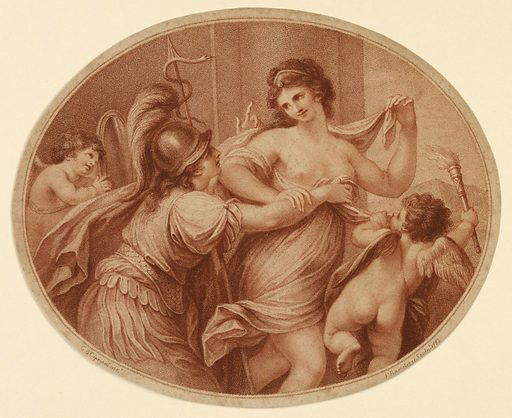 Beauty, lightly clothed, and accompanied by Amor, moves toward the right. Prudence, left, wearing armor, attempts to restrain Beauty. Print maker: Francesco Bartolozzi, Italian, 1727–1815. Made in: England. Date: 1780s. Record ID: chndm_1896-3-316.