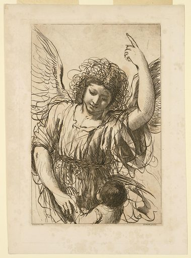 The angel faces frontally, with one hand on the hands of the child, with the other pointing to the sky. The Child is facing the angel, with his hands pressed together for prayer. Print maker: Giovanni Vitalba, Italian, 1783 – 1792. Made in: Italy. Date: 1780s. Record ID: chndm_1896-3-350.