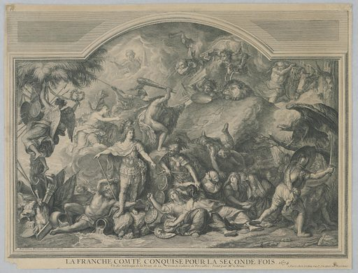 Within a decorative interior wall panel, figural scene depicting the battle for the territory of la Franche Comté, showing France conquering the region from Spain. The figure of King Louis XIV stands victorious and immobile on rocks wearing elaborate armor at left. Grieving women in the lower part of the composition represent the conquered cities of the region. Mars, God of War, drags them to the foreground; he carries their coats of arms identifying the cities the women represent. In the background, Hercules and Minerva climb a rock symbolizing the citadel of Besançon. Engraving after a painting by Charles Le Brun at the palace of Versailles. Print makers: Charles-Nicolas Cochin the elder, French, 1688 – 1754; Louise-Magdeleine Hortemels, French, 1686 – 1767. Made in: Paris, France. Date: 1680s. Record ID: chndm_1896-31-37.