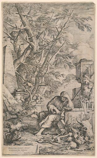 Democritus in Meditation. Print maker: Salvator Rosa, Italian, 1615 – 1673. Made in: Italy. Date: 1660s. Record ID: chndm_1896-31-47.
