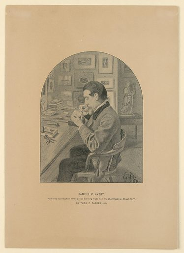Portrait of Samuel P. Avery. Half-tone reproduction of the pencil sketch drawing made from life at 48 Beekman Street, New York, by Thomas C. Farrer, 1860. Print maker: Thomas Charles Farrer, British, 1839 – 1891. Subject: Samuel P. Avery. Made in: New York, New York, United States of America. Date: 1860s. Record ID: chndm_1898-6-77.