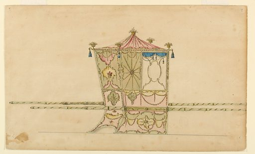 Shown from the rear right corner with two bars. The roof is shaped like a tent. On top and at the corners are fitted baskets. The window is divided into five parts by scrolls. The panel beside it is mainly decorated by garlands distributed like spikes of a shell around a disk. The upper panel at the back is decorated with frosted ovals. A crown of a baron is in the central one. The lower lateral panels are decorated assymmetrically. In the left part of the upper one is an escutcheon with a monogram [H or M]. The bars are decorated in their entire length. Both are so shown. Made in: London, England. Date: 1770s. Record ID: chndm_1900-1-17.