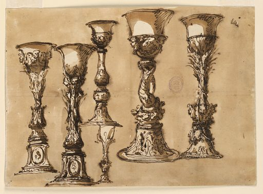Five large and one small designs for a chalice. All have a flaring, undecorated lip. The two at far left have oval medallions at the base. Ink wash ground. Made in: Italy. Date: 1800s. Record ID: chndm_1901-39-1165.