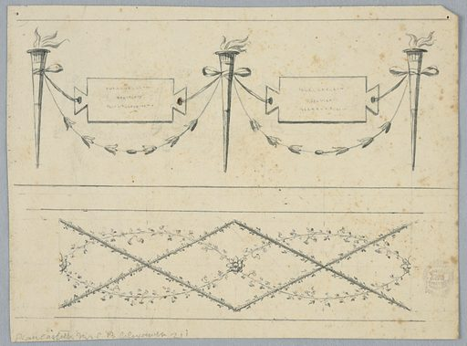 Horizontal rectangle. At top, torches connected by festoons and by tablets with inscriptions supported by the ribbons of knots. At bottom, are entwined with ovals formed by branches. Made in: Italy. Date: 1820s. Record ID: chndm_1901-39-1245.