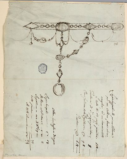Design for a necklace. The chain around the neck consists of alternating ovoidal and rhomboidal gems which are connected in the middle by chains of beads. Written below the ink, an Italian inscription. Made in: Italy. Date: 1800s. Record ID: chndm_1901-39-1301.