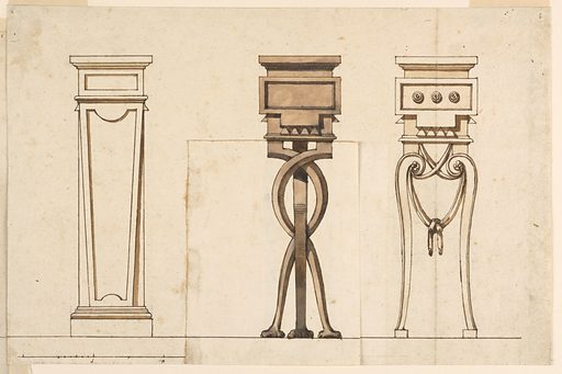 Three designs for wooden pedestals. At left, an unornamented tapering pedestal. At center, three entwining legs. At right, scrolling legs with handing drapery. Made in: Italy. Date: 1820s. Record ID: chndm_1901-39-1451-1.