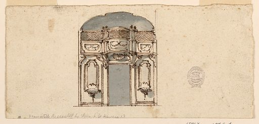 Elevation of a wall with a gallery above. At center, a door. Above this, a shell ornament and the gallery bows out in a convex curve. Made in: Italy. Date: 1800s. Record ID: chndm_1901-39-1583.