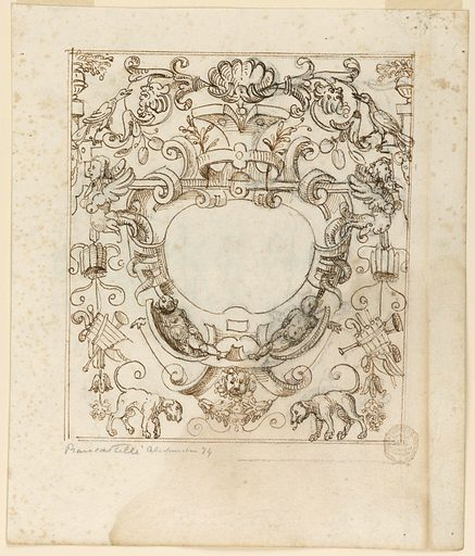 Strapwork frames a blank central oval. Below, two putti recline on scrolls, and dogs flank a central lion mask. Along the sides are musical trophies, birds and fantastic half human figures. Made in: Italy. Date: 1600s. Record ID: chndm_1901-39-1738.