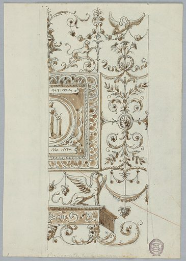 Right half of design shown. At center is a framed partial roundel with a figure. Above and below, a grotesque. At right, a candelabrum. Made in: Italy. Date: 1800s. Record ID: chndm_1901-39-1987.